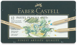Faber-Castell Pitt Pastel Pencil Set - Assorted Colors, Tin Box, Set of 12