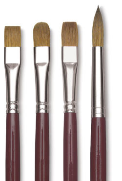 Da Vinci Kolinsky Red Oil Sable Brush - Bright, Long Handle, Size 0