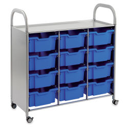 Gratnells Callero Plus Cart - Treble Cart, 12 Deep F2 Trays, Royal Blue