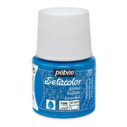 Pebeo Setacolor Fabric Paint - Aquamarine, Glitter, 45ml Bottle