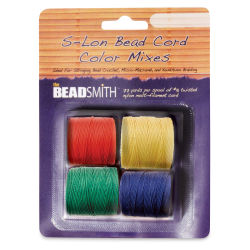 Beadsmith S-Lon Cord Pack - Pkg of 4, Primary Colors