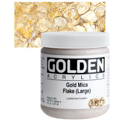 Golden Heavy Body Artist Acrylics - Iridescent Gold Mica Flake (Large), 8 oz jar