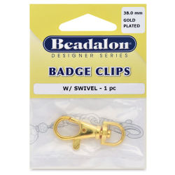 Beadalon Badge Clip - Gold Plated, 38 mm, 1 piece