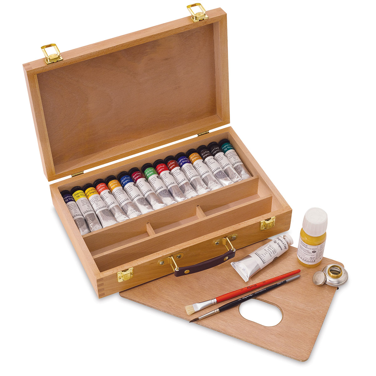 Sennelier Artists Egg Tempera - Assorted Deluxe Wood Box Set, Set of 13 colors