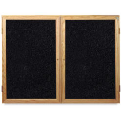 Ghent Enclosed Recycled Rubber Tackboards - 48'' x 36'' x 2 1/4'', Oak, 2 Door