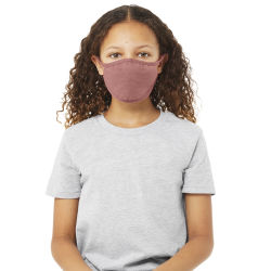 Bella Canvas Kids Reusable Face Mask - Mauve, Package of 5, Shown in use.