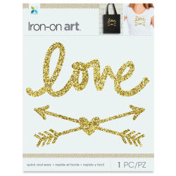 Momenta Iron-On Art - Gold Glitter Love