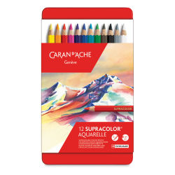 Caran d'Ache Supracolor Soft Aquarelle Pencil Set - Assorted Colors, Set of 12, front cover