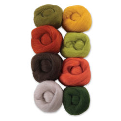 Wistyria Editions 100% Wool Roving - Pumpkin Patch, Pkg of 8