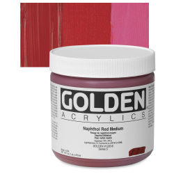 Golden Heavy Body Artist Acrylics - Naphthol Red Medium, 16 oz Jar