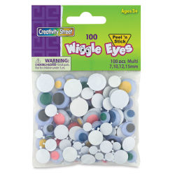 Creativity Street Colored Wiggle Eyes - Assorted Colors and Sizes, Round Self-Stick, Pkg of 100