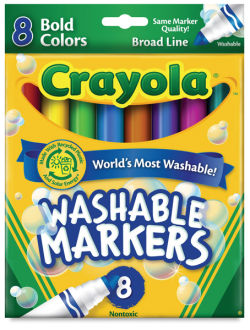Crayola Ultra-Clean Washable Markers, Set of 8, broad line, bold colors