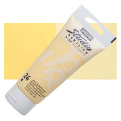 Pebeo High Viscosity Acrylics - Naples Yellow Hue, 100 ml, Swatch with Tube