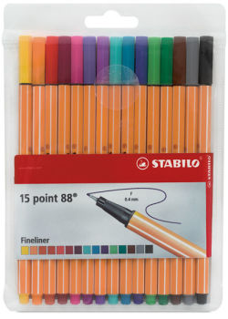 Stabilo Point 88 Fineliner Pen Set - Assorted Colors, Wallet, Set of 15