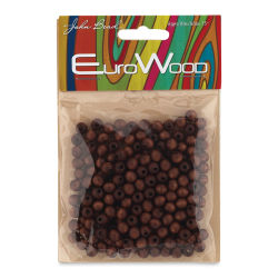 John Bead Euro Wood Beads - Dark Brown, Round, 6 mm, Pkg of 200