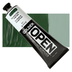 Golden Open Acrylics - Chromium Oxide Green Dark, 5 oz, Tube with Swatch