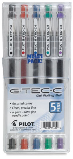 G-Tech-C Rolling Ball Gel Pens, Set of 5