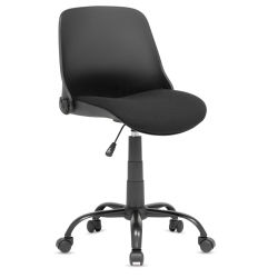 "Studio Designs Folding Back Modern Swivel Office Task Chair - Black, 22""W x 22""D x 37-1/2""H"