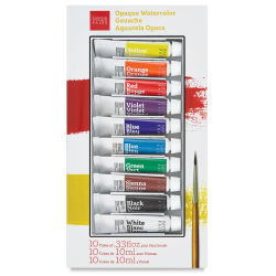 Savoir Faire Opaque Watercolor Gouache - Set of 10 Colors, 10 ml tubes