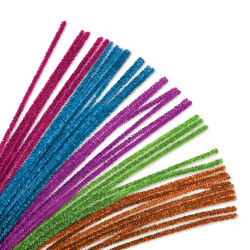 "Krafty Kids Chenille Stems - Tinsel, Assorted Colors, 12"", Package of 35"