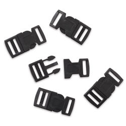 John Bead Craft Paracord Buckles - Black, 15 mm, Set of 5