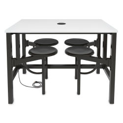 OFM Endure Tables with Attached Stools - 4 Seats, Dry-Erase Top, Dark Vein Seats, 48'' L