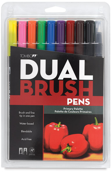 Tombow Dual Brush Pens - Primary Colors, Set of 10