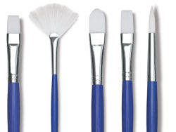 Blick Scholastic Wonder White Synthetic Brushes - Row of five brushes in assorted shapes.
