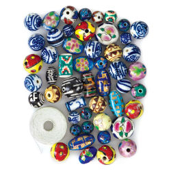 Porcelain Beads - 50 Piece Assortment w/Thread