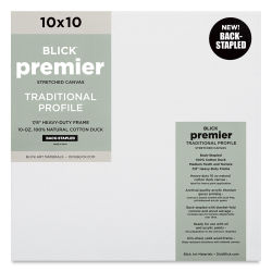"Blick Premier Cotton Canvas - Back-Stapled, 7/8"" Traditional Profile, 10"" x 10"""