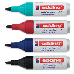 Edding Permanent Marker - Mini Markers, Set of 4, Bullet Nib