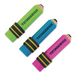 Ticonderoga Neon Pencil Shaped Erasers - Pkg of 3