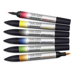 Winsor & Newton Promarker Watercolor Markers - Basic Colors, Set of 6