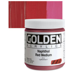 Golden Heavy Body Artist Acrylics - Naphthol Red Medium, 8 oz Jar