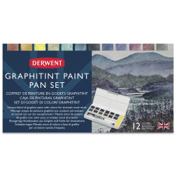 Derwent Graphitint Paint Pan - Set of 12, Assorted Colors (Front of packaging)