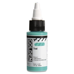 Golden High Flow Acrylics - Teal, 1 oz bottle