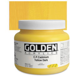 Golden Heavy Body Artist Acrylics - Cadmium Yellow Dark, 32 oz Jar
