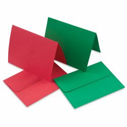 Paper Accents Super Value Cards and Envelopes - 4-1/4'' x 5-1/2'', Red and Green, Pkg of 50