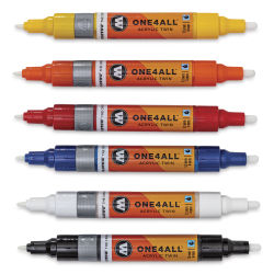 Molotow One4All Acrylic Twin Markers - Basic Colors 1, Set of 6 without caps