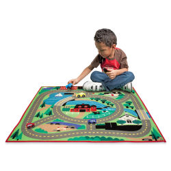 Melissa & Doug Activity Rug - Round the Town Road Rug and Car Set