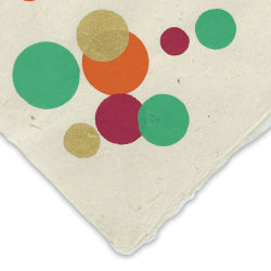 Screenprinted Lokta Paper - Circles, Gold, Orange, Green, and Pink, 20'' x 30''
