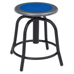 National Public Seating Designer Swivel Stool - Black Frame/Prussian Blue Seat