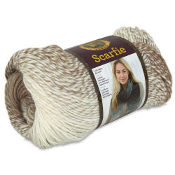 Lion Brand Scarfie Yarn - Cream/Taupe