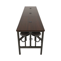 OFM Endure Tables with Attached Stools - 12 Seats, Walnut Top, Dark Vein Seats, 141''L