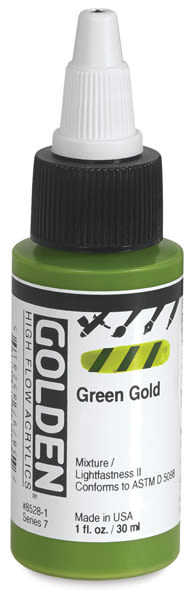 Golden High Flow Acrylics - Green Gold, 1 oz bottle