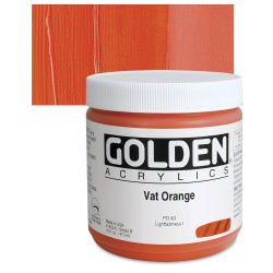 Golden Heavy Body Artist Acrylics - Vat Orange, 16 oz Jar
