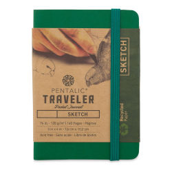 Pentalic Recycled Traveler's Sketchbook - 4-1/8'' x 2-7/8'', Green
