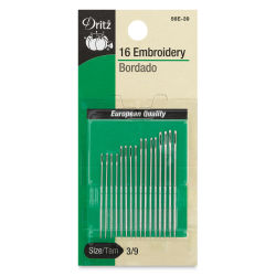 Dritz Embroidery Needles- Size 3 - 9, Pkg of 16