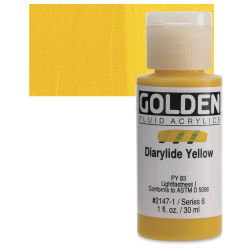 Golden Fluid Acrylics - Diarylide Yellow, 1 oz bottle