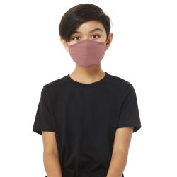 Bella Canvas Kids Reusable Face Mask - Mauve, Shown in use.